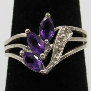 Vintage Size 6 Sterling Amethyst Diamond Ring